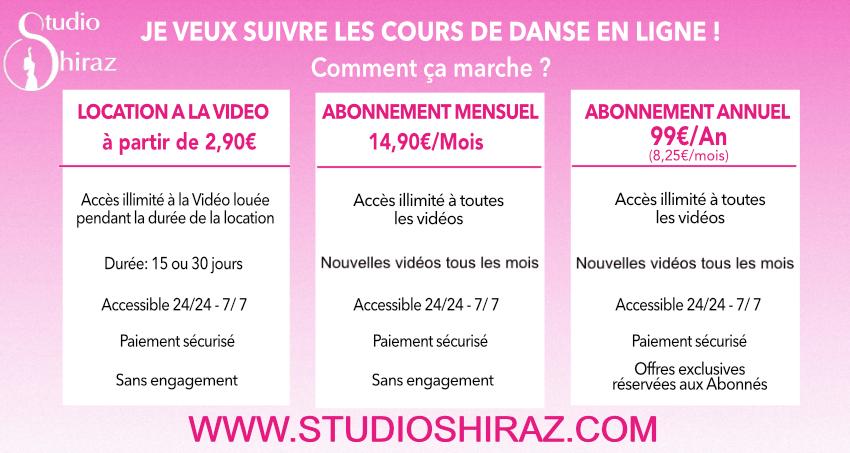 Ofres Abonnement Cours de danse orientale en ligne