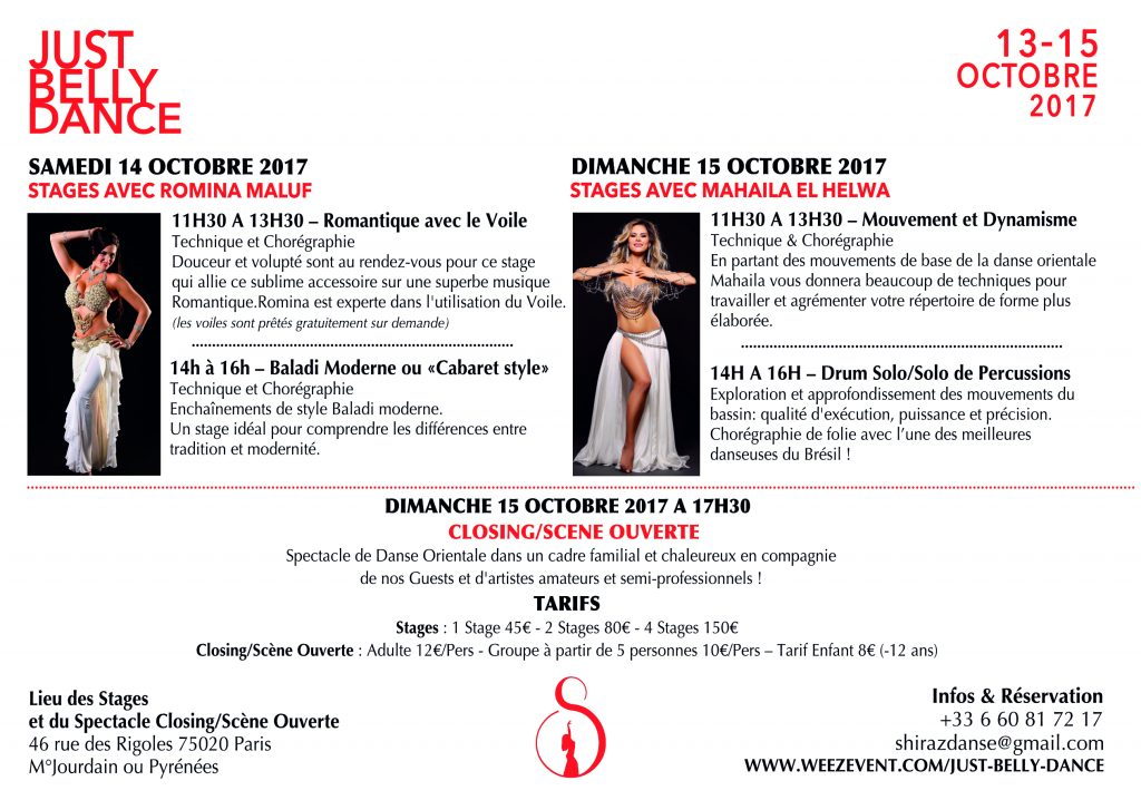 Stages Just Belly Dance Paris 2017